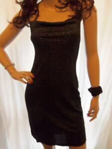 3/4 PREOWNED BLACK SILVER LINGERIE STRAP SLEEVELESS VIP FIGURE HUGGING DRESS 10