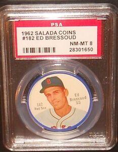 PSA 8 NM-MT 8 - Ed Bressoud 1962 Salada Coins Card Boston Red Sox