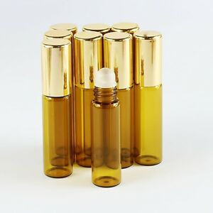 10Pcs (16*69mm) glass roll on bottle amber empty Glass Roller Ball Essential Oil