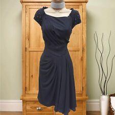 Sz 10 UK Karen Millen Black Studded Crepe Pleat Drape Midi Dress Office Evening