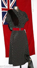 BNWT Vintage 40's Brown Polka Dot Dolly Tea Dress size 16 EU 44 Land Girl WW2