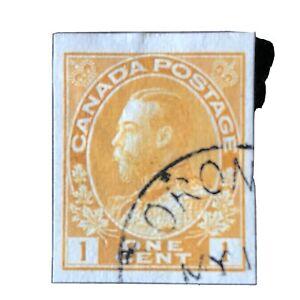 CANADA, SCOTT # 136, 1c. VALUE ORANGE YELLOW 1924 KGV IMPERFORATED ISSUE USED