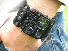 Bison Leather wristband cuff bracelet hot cool Men Rock star Watch  Steam punk