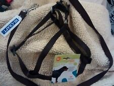 Large Ferplast Dog Easy Harness 50- 78 cm chest Brown with Matched Hi Craft Lead
