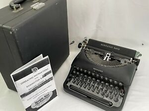 1947 Remington Rand Deluxe Model 5 Portable Typewriter in Case, Bakelite keys