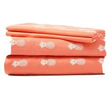 EUC Just Home Coral Pineapple Full 4-Piece Sheet Set