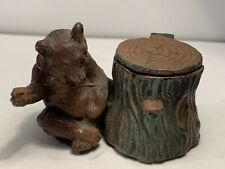 Antique or Vintage Cold Painted Cast Metal Figural Bear Inkwell
