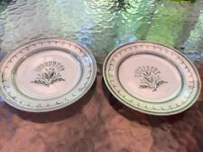 2 HANDPAINTED BREAD PLATE VINTAGE ARABIA FINLAND CHINA GREEN THISTLE FLOWER