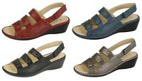 LADIES SANDALS MID WEDGE HEEL ANKLE STRAP RIPTAPE FASTENING SUMMER SHOES F3106