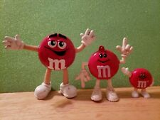 3 Different Hard To Find Bendable Red M&M Characters Free Standing