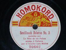FLAMENCO 78 rpm RECORD Homokord NIÑA DE LOS PEINES Soleares / Sevillanas Boleras