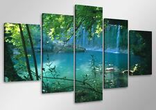 Tableau Moderne Paysage Cascade 5 partie Image sur toile 100 x 50 cm