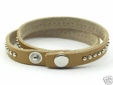 Tan Leather Studded Wrap Surfer Bracelet Wristband