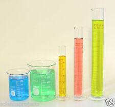 Beaker Set of 600mL 250mL & Cylinder Set of 250mL 100mL 50mL Lab Glass New
