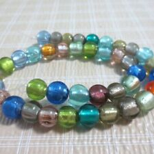 38pc 10mm Assort Lampwork Glass Silver Foil Round Beads