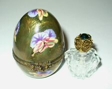 LIMOGES BOX ~ CHAMART ~ FLORAL PANSY EGG & PERFUME BOTTLE ~ FLOWERS ~ DECOR MAIN