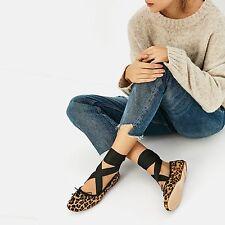Zara Estampado de Leopardo Pony Cuero Con Cordones Plana Bailarina Zapatos Talla Uk 6 EU 39