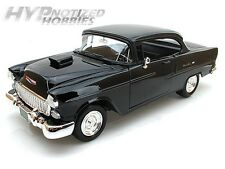 MOTORMAX 1:18 1955 CHEVROLET BEL AIR WITH HOOD SCOOP  DIE-CAST BLACK  79001