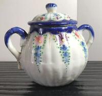 Vintage Nippon Style Porcelain Sugar Bowl Cobalt Blue Gold Floral Hand Painted