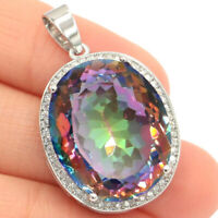 25x20mm Big Oval 22x18mm Fire Rainbow Mystic Topaz CZ Woman's Silver Pendant