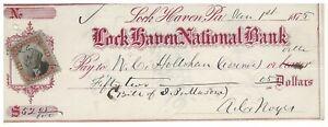 1875 Lock Haven National Bank Pennsylvania Renovo, PA New York 2¢ Revenue Stamp