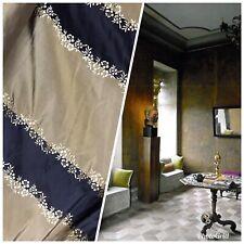 NEW! 100% Silk Taffeta Embroidered Stripe Floral Fabric- Khaki Black Gold