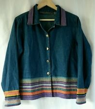 New Identity Colorful Embroidered Blue Denim Jean  Blazer Jacket size  M EUC