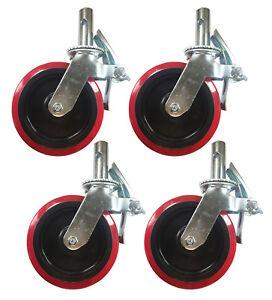 "4 pcs Scaffold Caster 8"" x 2"" Red PU Wheel Locking Brake 1-1/4"" Stem 3800 lbs."