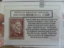 Nazi (OSS) 1945, 45-Pfennig Hitler Death Head Propaganda Stamp--Replica w/holder