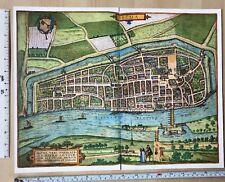 Old Antique Historic Map Bremen, Germany: 1598 Braun & Hogenberg REPRINT 1500's