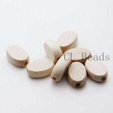 40pcs Czech Wood Beads - Flat Oval - Natural 10x15mm (102600)