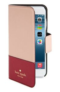 Kate Spade NY 256593 Woman Pink Red iPhone 7/8 Plus Leather Folio Case