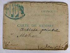 Mane Katz Autograph On Jewish AMANOUTH Art School Membership Card Paris 1949