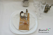 Wedding Hessian Burlap Cutlery Holders Table Decorations Wooden Hearts Mr Mrs
