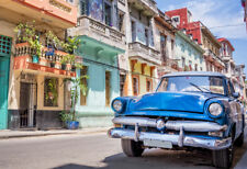 BLUE CAR IN CUBA   *  LARGE A3 SIZE QUALITY CANVAS ART PRINT