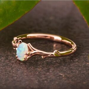 Gorgeous Rose Gold Rings Wedding Jewelry Women Oval Cut Opal Ring Gift Size 7