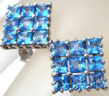 Sterling Silver Blue Topaz TGGC Square Princess Cut Gemstones Post Pierced 925