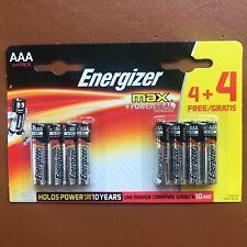 8 x Energizer AAA MAX Alkaline Powerseal Batteries LR03 MX2400 MN Longest Expiry