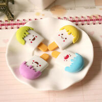 4pcs/pack Expression Ice Cream Shape Pencil Eraser Student School Stationery