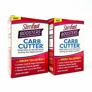 SlimFast Boosters CARB CUTTER 105 Caps Slim Fast Weight Loss 2 PACK Exp.12/2020
