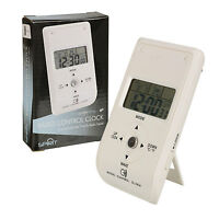 Radio Controlled White Travel Bedside Digital Alarm Clock Coloured Backlight NEW