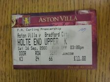 16/09/2000 Ticket: Aston Villa v Bradford City (Folded, marked). This item has b