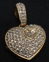 Genuine SWAROVSKI Crystal Encrusted Swan Signed Vintage Heart Locket Pendant