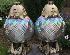 2x Grablicht 31cm Grablaterne Lampe Grableuchte Glas Grabschmuck Kerze Bronze 24