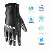 Leather Windproof Winter Warm Driving Texting Work Gloves Touch Screen Men Women