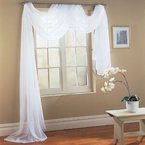 """1 Piece Hotel Quality Pure White Sheer Voile Window Scarf Valance 55"""" X 216"""""""