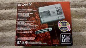 SONY WALKMAN MINIDISC MD PLAYER / RECORDER MZ-R50 + 9 MINI DISCS - BOXED