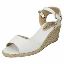 Ladies Spot on Canvas Sandals With Wedge Heel (3 Colours) Style F2247 White UK 6