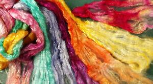Viscose Silk Tops Plant Fibre Vegan Hand Dyed Mix 20g Felt Spin Textile Craft UK