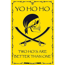Pirate Yo Ho Ho Two Hos Are Better Than One Funny Man Pub Cave Metal Sign 12x18